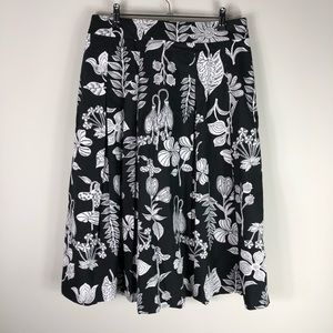 Talbots Cotton Floral A Line Pleated Skirt Full